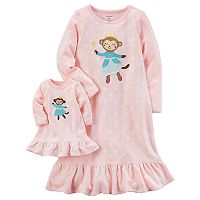 Toddler Girl Carter's Ballerina Monkey Fleece Nightgown with Doll Nightgown