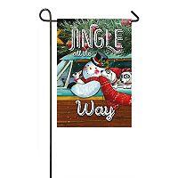 Evergreen Christmas Snowman Indoor / Outdoor Garden Flag
