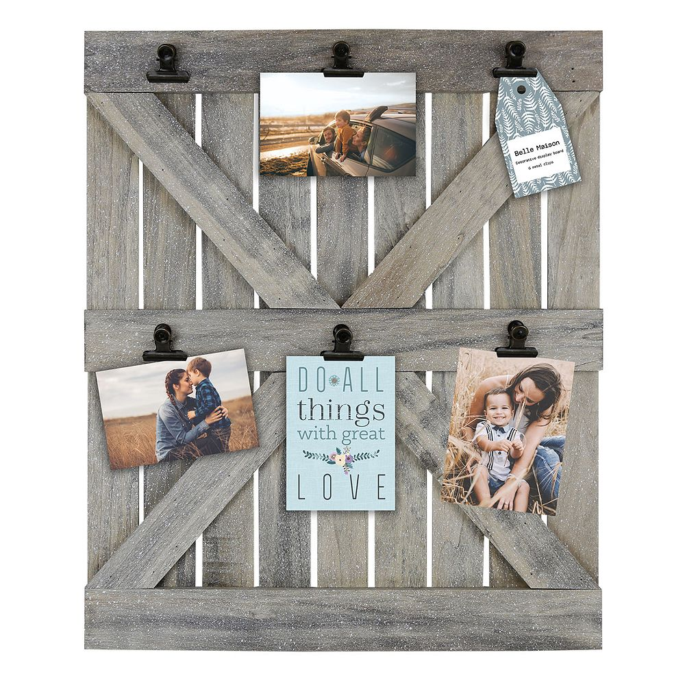 Photo boards wall decor home decor kohls belle maison wood door 6 opening photo clip fashion collage frame amipublicfo Images