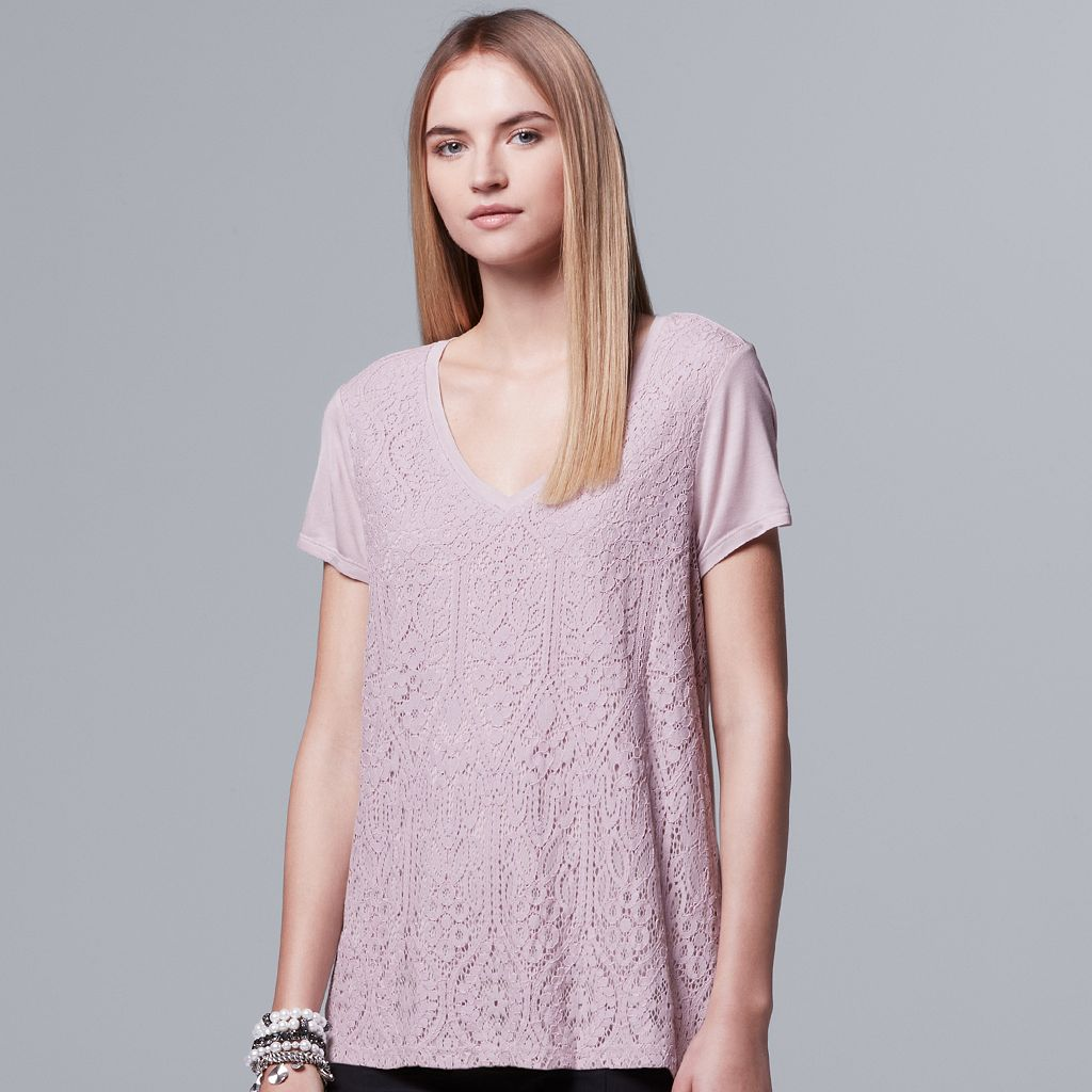 Women's Simply Vera Vera Wang Layered Lace Swing Tee