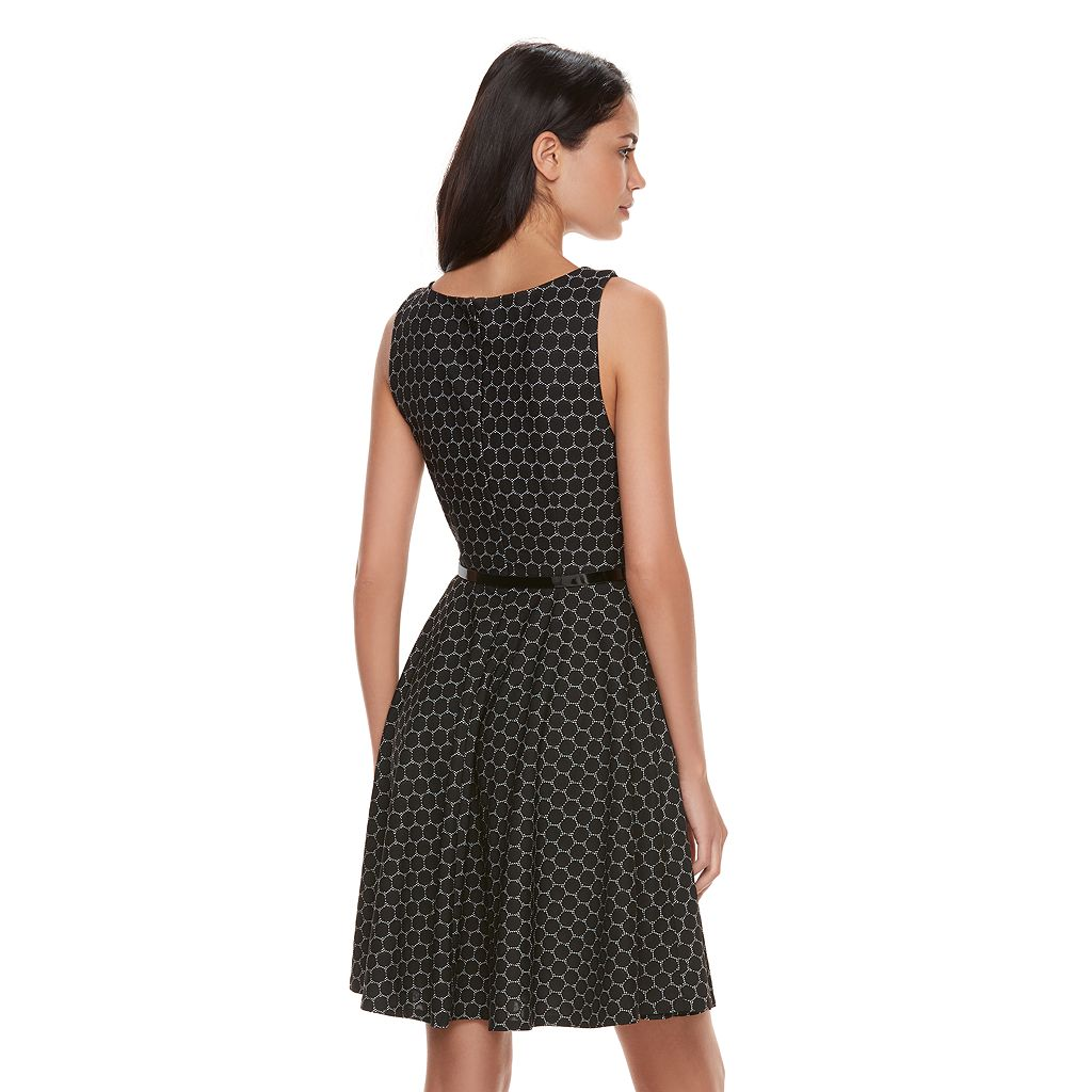 Women's' ELLE™ Circle Jacquard Fit & Flare Dress
