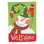 """Evergreen """"Welcome"""" Snowman Indoor / Outdoor Garden Flag"""