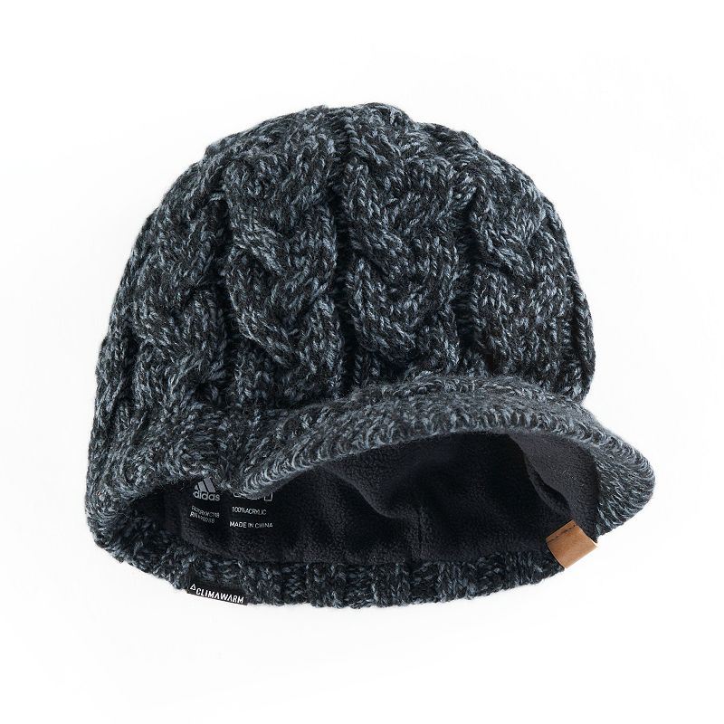 de03b02ccff45 Women s adidas Crystal Marled Chunky Cable Knit Brimmer Beanie (Black)