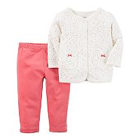 Baby Girl Carter's Heart Cardigan & Pants Set