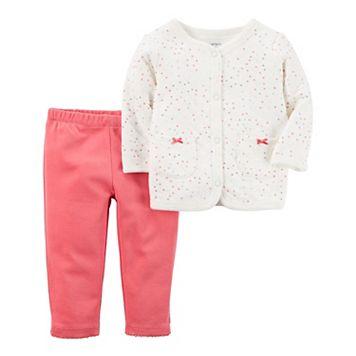 Baby Girl Carter's Heart Cardigan & Pants Set