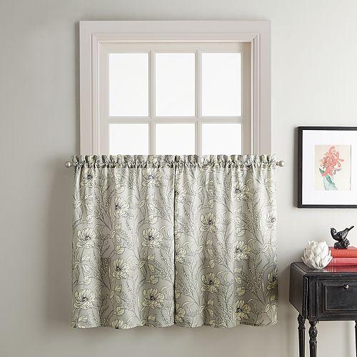 Sketch Floral Tier Curtain Pair