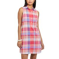 Petite Chaps Plaid Linen Blend Shirtdress