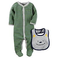 Baby Boy Carter's Striped Sleep & Play, & Monster Bib Set