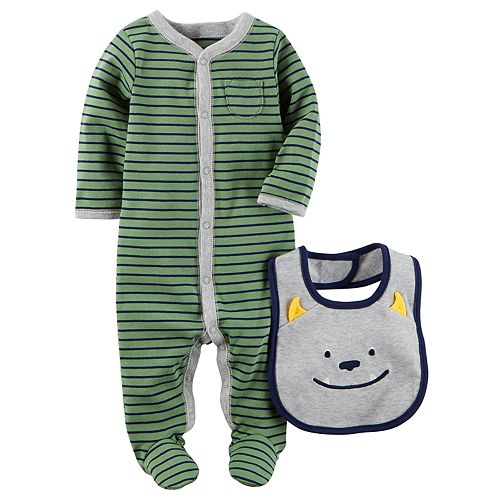 Baby Boy Carter's Striped Sleep & Play, & Monster Bib Set