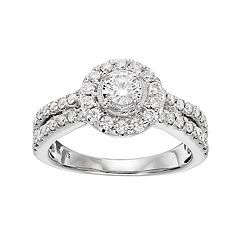Simply Vera Vera Wang 14k White Gold 1 Carat T.W. Diamond Halo Engagement Ring
