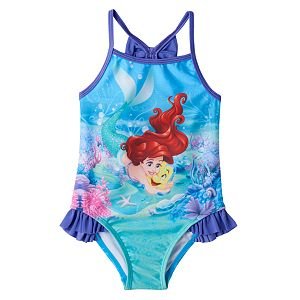 Disney's The Little Mermaid Ariel & Flounder Baby Girl Ruffle One-Piece Swimsuit