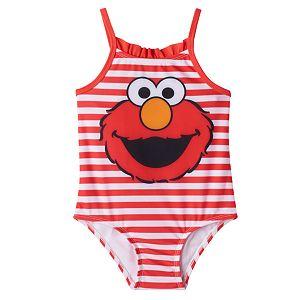 Baby Girl Elmo Ruffle Striped One-Piece Swimsuit