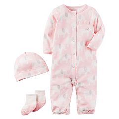 Baby Girl Carter's Elephant Coverall, Hat & Socks Set