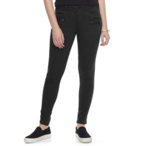 Juniors' Rewind Techno Fit Zipper Skinny Pants