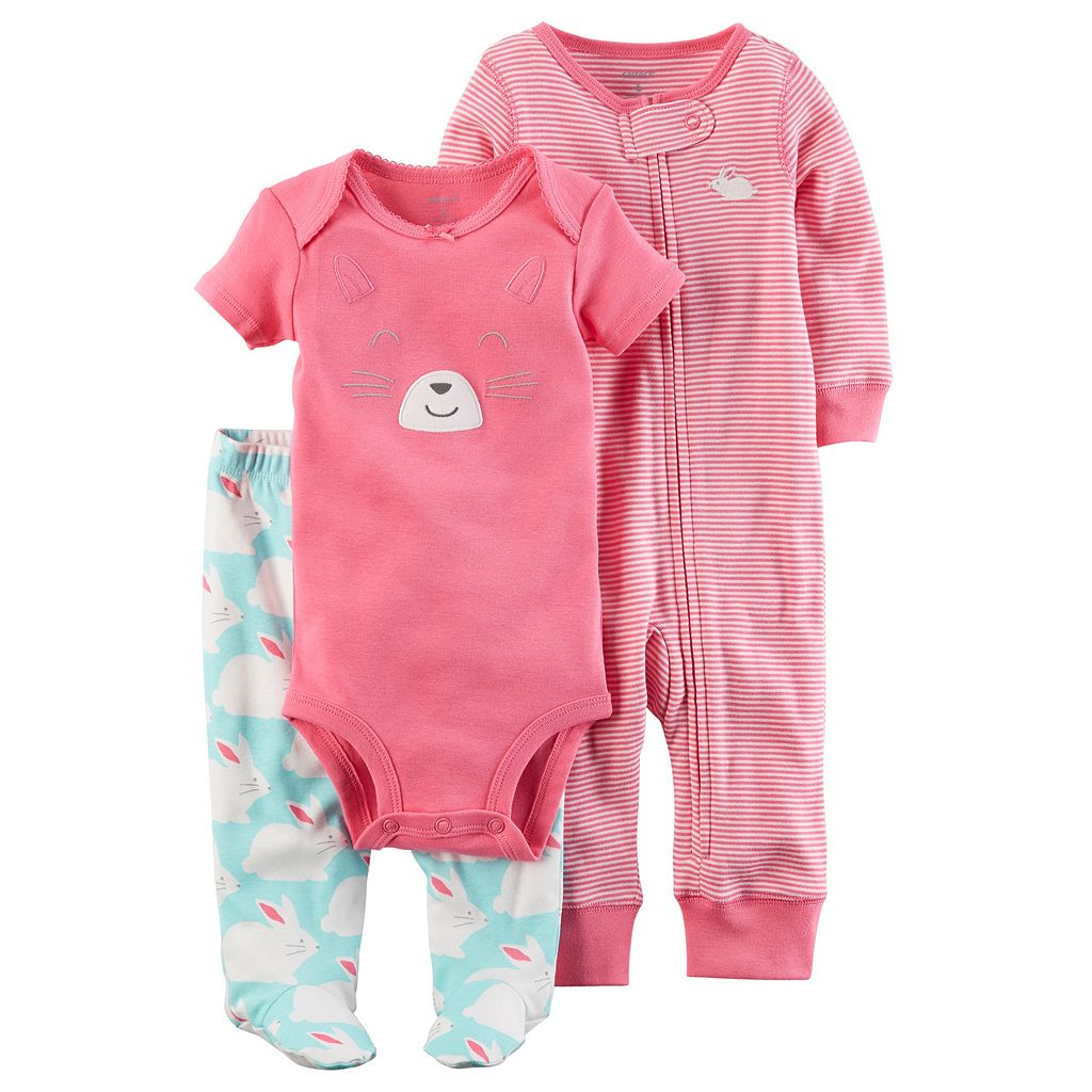 Baby Girl Carter's Bunny Bodysuit, Striped Coverall & Bunny Pants Set