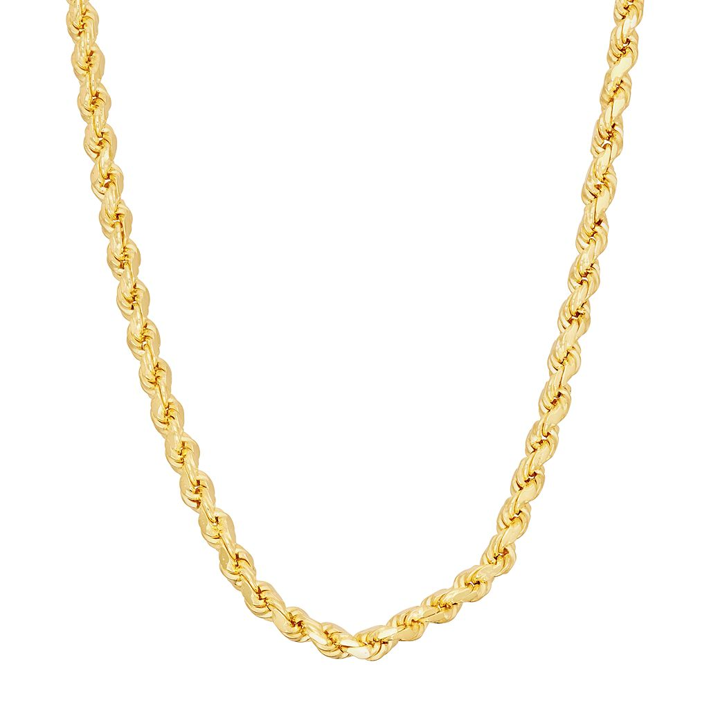 14k Gold Over Silver Rope Chain Necklace - 20 in.