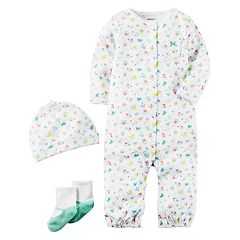 Baby Girl Carter's Floral Coverall, Hat & Socks Set