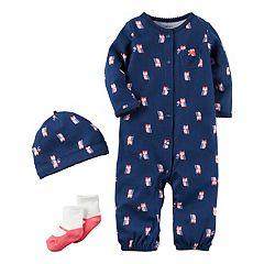 Baby Girl Carter's Owl Coverall, Hat & Socks Set