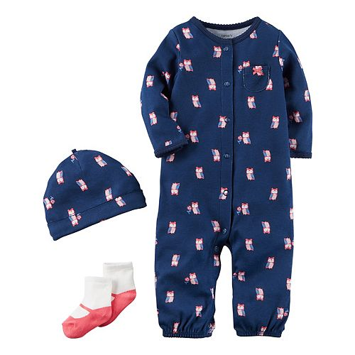 Baby Girl Carter's Owl Coverall, Hat & Socks Set