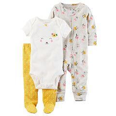 Baby Girl Carter's Floral Coverall, Lamb Bodysuit & Polka-Dot Pants Set