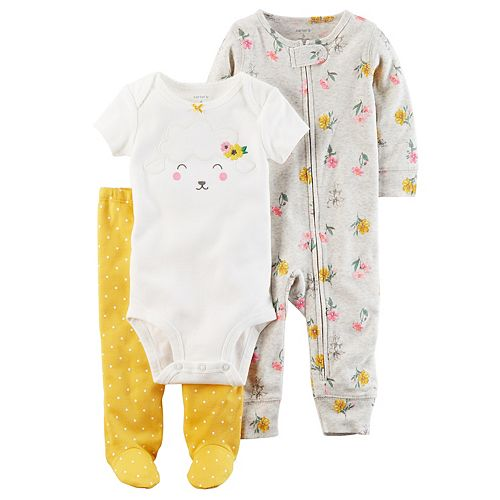 Baby Girl Carter's Floral Coverall, Lamb Bodysuit & Polka-Dot Pants Set