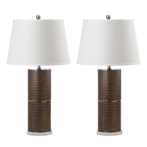 Safavieh Pearson Faux Snakeskin Table Lamp 2-piece Set