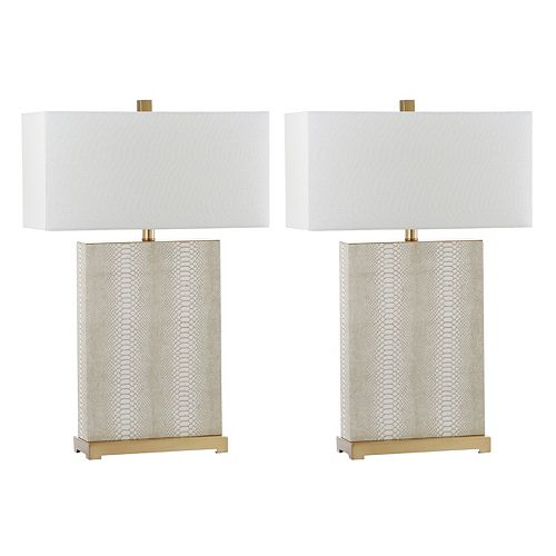 Safavieh Joyce Faux Snakeskin Table Lamp 2-piece Set