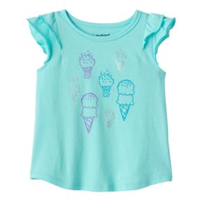 Baby Girl Jumping Beans® Foiled Graphic Flutter-Sleeve Tee