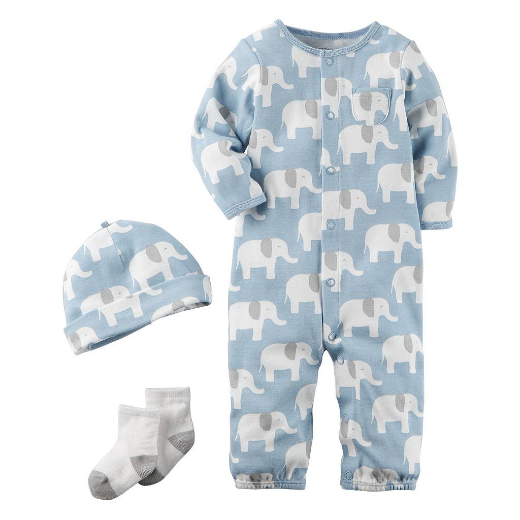 Baby Boy Carter's Elephant Coverall, Hat & Socks Set