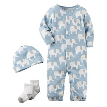 Baby Boy Carter's Elephant Coverall, Hat & Socks Set