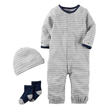 Baby Boy Carter's Striped Coverall, Hat & Socks Set