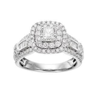 Simply Vera Vera Wang 14k White Gold 1 1/4 Carat T.W. Diamond Square Halo Engagement Ring