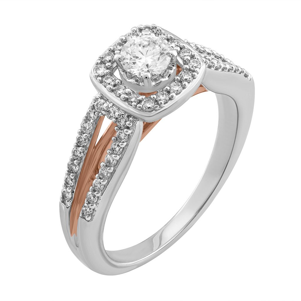 Simply Vera Vera Wang Two Tone 14k Gold 1/2 Carat T.W. Diamond Square Halo Ring
