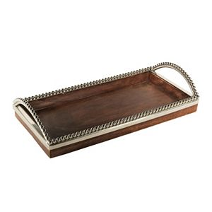 Accents by Jay Silver Beaded Rectangular Wood Tray with Handles
