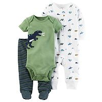 Baby Boy Carter's Dino Bodysuit, Printed Coverall & Striped Pants Set
