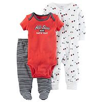 Baby Boy Carter's Ball-Print Coverall, Graphic Bodysuit & Striped Footed Pants Set