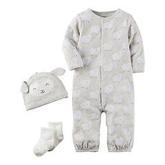 Baby Carter's 3 pc Lamb Babysoft Take-Me-Home Coverall, Hat & Socks Set