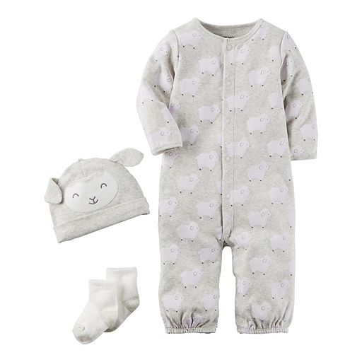 Baby Carter's 3-pc. Lamb Babysoft Take-Me-Home Coverall, Hat & Socks Set