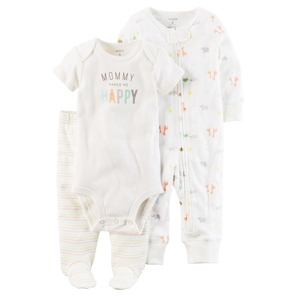 Baby Carter's Animal Coverall, Graphic Bodysuit & Footed Pants Set