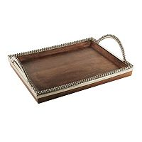 Accents by Jay Silver Beaded Wood Tray with Handles