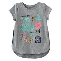 Girls 4-10 Jumping Beans® Foiled Graphic Short Sleeve High-Low Hem Tee