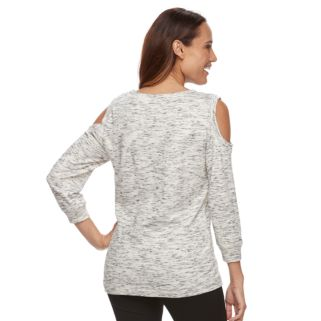 Petite Kate and Sam Space-Dye Cold-Shoulder Top