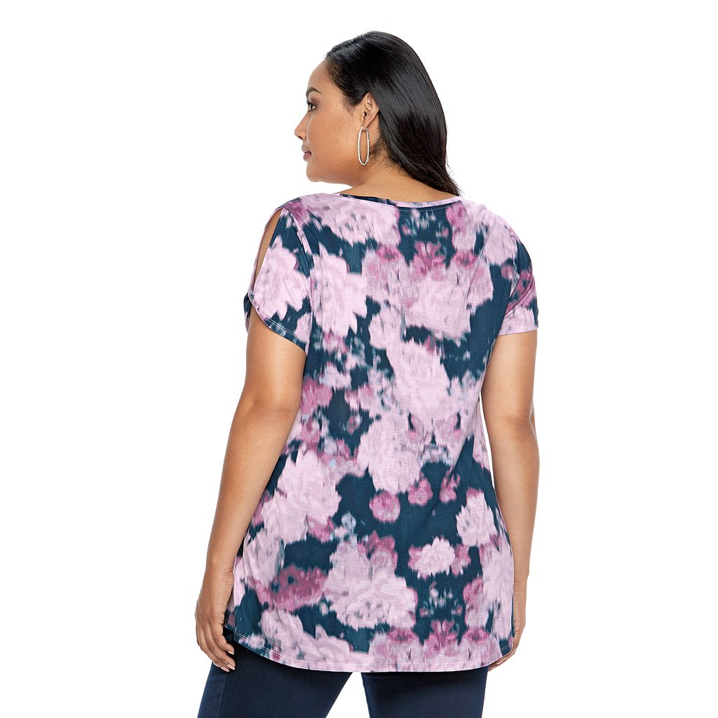 Plus Size Jennifer Lopez Twisted Cold-Shoulder Tee