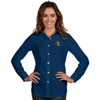Women's Antigua Indiana Pacers Dynasty Button-Down Shirt