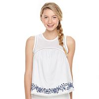 Juniors' SO® Embroidered Pom-Pom Hem Tank