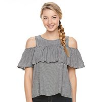 Juniors' SO® Ruffle Cold-Shoulder Top