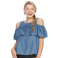 Juniors' SO® Ruffle Cold-Shoulder Chambray Top