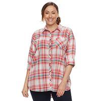 Plus Size SONOMA Goods for Life™ Essential Plaid Shirt
