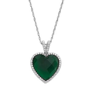Sterling Silver Glass & Cubic Zirconia Heart Halo ...