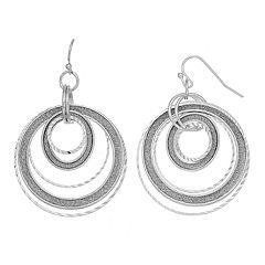 Glittery Circle Nickel Free Orbital Drop Earrings